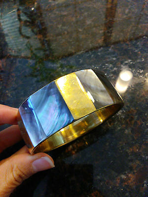 vintage wide brass inlaid mother of pearl bangle bracelet abalone