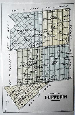 Dufferin County Ontario Canada Rare 1881 orig map Ont Agricultural Commission