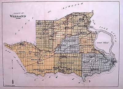 Welland County Ontario Canada Rare 1881 orig map Ont Agricultural Commission