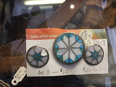 Vintage Turquoise & Mother Of Pearl Inlay Southwestern Clip Earrings and Pin Set