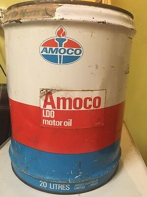 OLD ANTIQUE RARE LARGE AMOCO 20 Litres MOTOR OIL TIN CAN