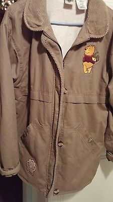 disney store winnie the pooh womens khaki fleece lined jacket