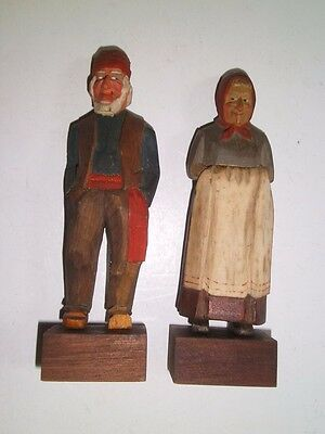 Vtg Hand Carved Wooden Figurines Folk Art Man/Woman PURVIS Quebec Canada 30s-50s