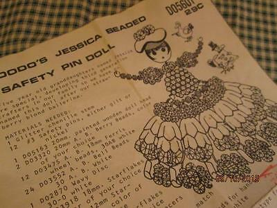 Vintage DODO'S JESSICA BEADED SAFETY PIN DOLL Pattern 1987