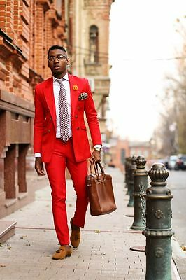 Red Men's 2 Piece Wedding Groom Tuxedos Groomsman Best Man Party Prom New Suits
