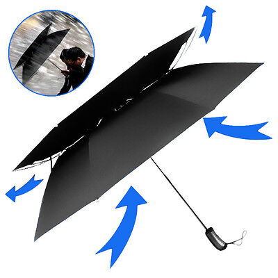 Premium Quality Black Windproof UV Double Canopy Golf Umbrella W/ Pop-Up Button