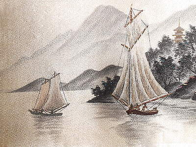 Japan Japanese Silk Needlepoint Embroidery Sailboats on a Lake ca. 20th c.