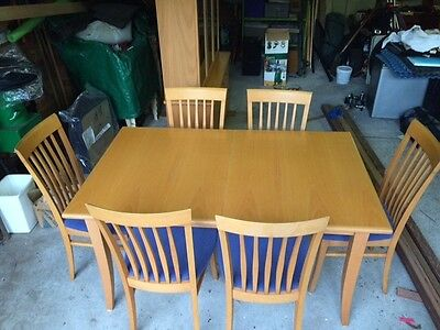 timber extension dining table & 6 chairs & matching display cabinet buffet hutch