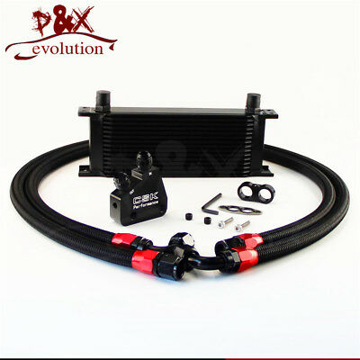 Universal 15 Row Engine Oil Cooler Kit + Sandwich Plate adapter For LS1 LS2 LS3