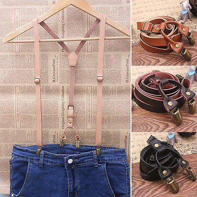 Mens Real Leather Adjustable Wedding Party Suspenders Y-Back Clip-On Braces New