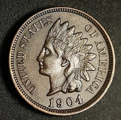 1904 INDIAN HEAD CENT -With LIBERTY & Near 4 DIAMONDS - AU UNC