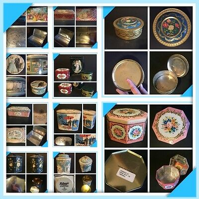 Vintage Floral Biscuit Tin Lot - Shabby Charm - England - Peek Frean / Gray Dunn