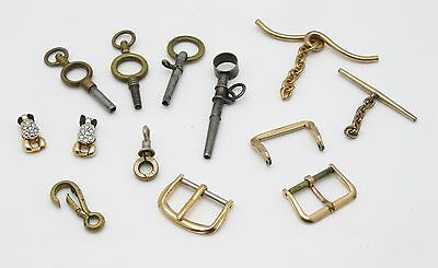 Great lot Vintage & Antique Watch & Pocket Watch Keys, Buckles, GF Pulls