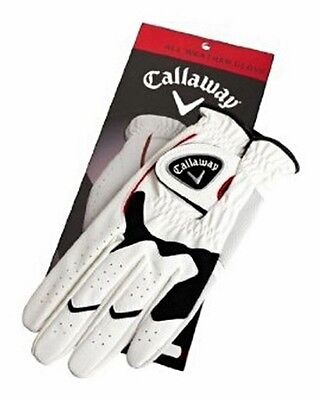 CALLAWAY ALL WEATHER GOLF GLOVE x 3- WHITE - GLH MENS LARGE - NEW