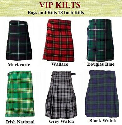 Kids Boys Children Scottish Highland Tartan Acrylic Vip Kilts AGE: 4-20 Year old