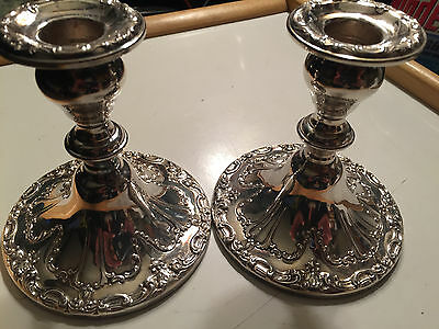 """Vintage Gorham Silver plated Candle Stick Holders Pair Chantilly YC3004 4.5"""""""