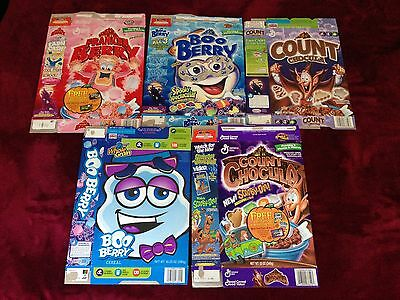 Count Chocula, Boo Berry , Frankenberry lot of 5 Cereal boxes (1995-2006)