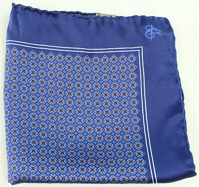 New Mens Canali Made in Italy 100% Silk Blue Pocket Square