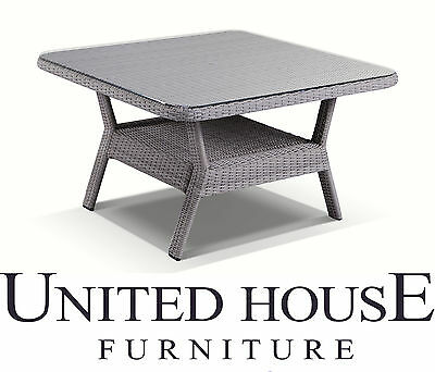 Grey Outdoor Wicker 1.2m Square Glass Top Dining Table Rattan Patio Furniture