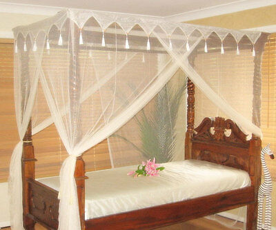 Deluxe DOUBLE Size Box Cream Mosquito Net Bed Canopy