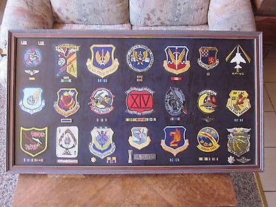 """LOT of(21) USAF SQUADRON PATCHES with RIBBONS,RANK,WINGS, INSIGNIA'S """"MUST SEE"""""""