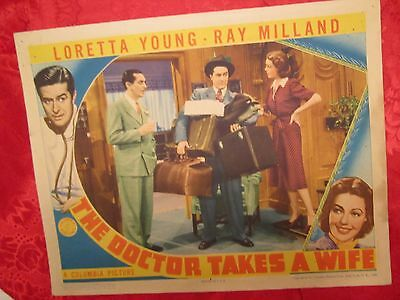 The Doctor Takes A Wife (1940) Loretta Young/ray Milland/gardiner  Lobby Card