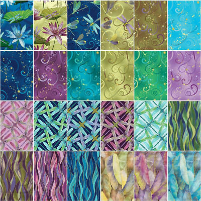 """Benartex Fabrics Jelly Roll - 40pc of 2.5"""" x 44"""" Strips - Dance of the Dragonfly"""