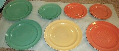Vintage Unmarked Pottery Dinner/ Lunch Plate green,orange