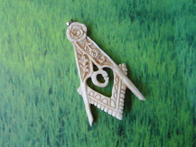 Pendant Necklace Freemason Symbol From Buffalo Bone Carved with Silver 925_x89