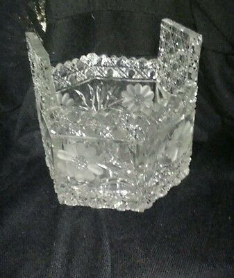 Vintage Antique Clear Cut Crystal Glass Basket Bowl Vase Late 1800s