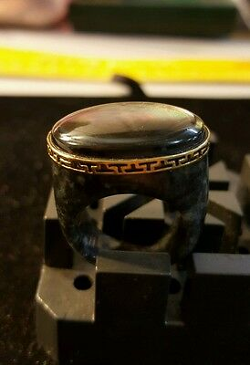 Estate Ladies 14K Yellow Gold Marble Right Hand Cocktail Ring Size 8.25 NICE!!!!
