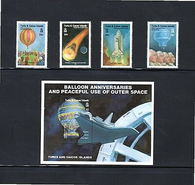 Turks & Caicos Is 1983 Bicentenary of Manned Flight (inc MS) SG 754/8 MUH