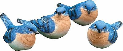 Set Of 4 Diffe Blue Bird Figurines Detailed Resin Orange Bluebirds