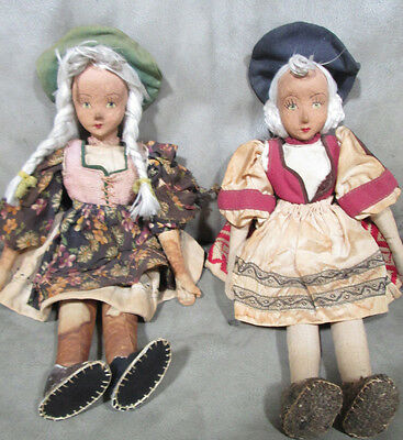 A Pair of 19th Century  Pennsylvania Dolls Paper Mache and Cloth Dolls 15 Inches