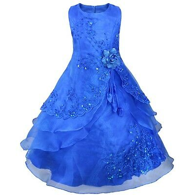 Formal Flower Girl Princess Dress Kid Party Pageant Wedding Prom Ball Gown 10-12
