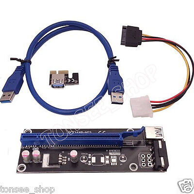 USB PCI-E Express 1X To 16X Extender Riser Card Adapter Molex Power Cable 60CM