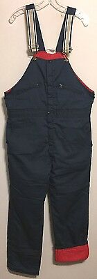 Vtg Mens Mechanic Lined Quilted Blue Red Pant Bib Work Overalls 40