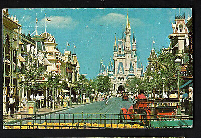 """Disney Worlds """"Bound For the World of Fantasy"""" Main Street USA leads to Castle"""