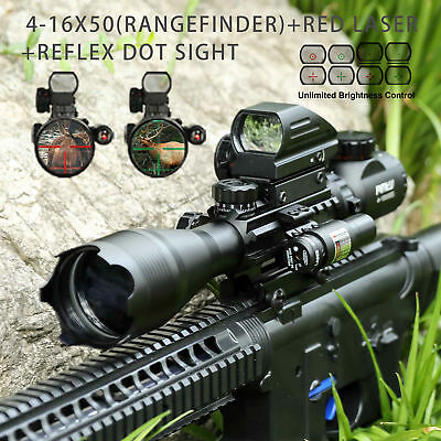 3in1 Combo 4-16x50 Rangefinder Rifle Scope w/ Red laser & Reflex Dot Sight scope