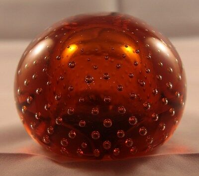 Vintage Wedgwood Type Amber Controlled Bubble Glass Paperweight