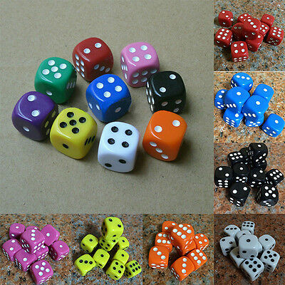 10Pcs Acrylic Six Sides Spot Dot D6 Playing Game Color Dices Cube Bar Pub Toy FR