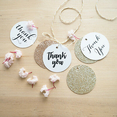 30 x White Thank You Gift Tags Rose Gold Glitter Baby Shower Wedding Favours