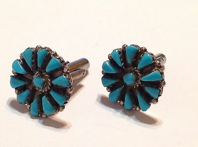 Native American Sterling Silver Petit Point Turquoise Cufflinks
