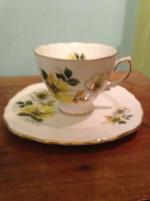 Royal Vale Yellow Flowers Teacup And Cake Plate