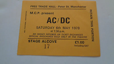 Ac Dc Vintage Concert Ticket Free Trade Hall Manchester 6Th May 1978