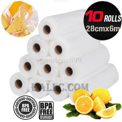 Health 10x Vacuum Food Sealer 6Mx28cm Roll Bags Saver Seal Storage Commercial