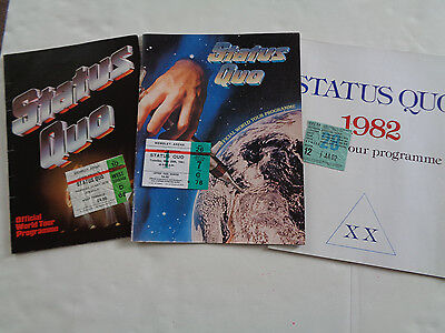 Status Quo Three Uk Concert Programmes And Three Concert Tickets ..a Great Set