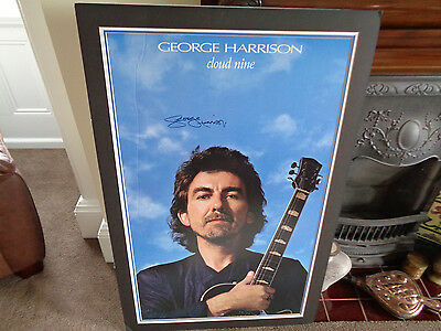 Beatles /george Harrison Autographed Cloud Nine Promotional Poster...large