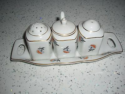 china cruet set stamped Czechoslvakia complete with mustard spoon