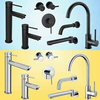 Black/Chrome Round Kitchen Laundry Basin Mixer Sink Faucet Tap Wall Shower Spout